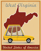 West virginia road trip vintage poster — Stock Vector