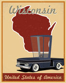Wisconsin road trip vintage poster — Stock Vector