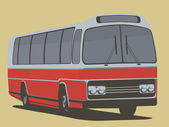 Vintage poster with old bus — Stock Vector
