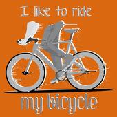 固定ギア自転車と背景 — ストックベクタ