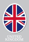 Sticker flag of United Kingdom in form of easter egg — Stockvektor