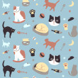Kitty Collection Seamless Pattern — Stock Vector