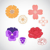 Flower Lineart Set 3 — Stock Vector