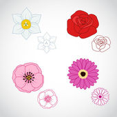 Flower Lineart Set 4 — Stock Vector