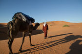 Nomad and camel in the desert — Foto Stock
