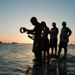 Fishing in the sunset — Stock Photo