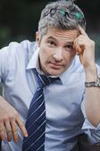 Portrait of a businessman looking worried — Stock Photo