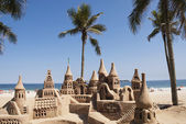 Sand castle on the beach — Foto Stock