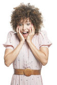 Woman looking surprised — Foto Stock