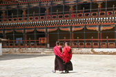 Monks debating at Rinpung Dzong in Paro, Bhutan — Stock Photo
