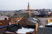 Tromso with the Domkirke during the polar night — Stock Photo