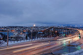 Tromso with the Tromso Bridge — Stockfoto