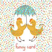 Funny card with birds — Stock Vector