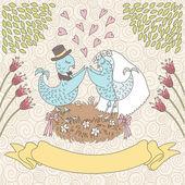 Romantische kaart met vogels — Stockvector