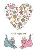Lovers kittens — Stock Vector