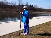 Child Nordic walking — Stock Photo