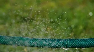 Leaky water hose and squirting water drops — Stock Video