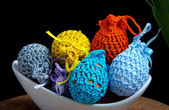 Easter decoration, crocheted eggs — Stock Photo