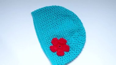 Girls Crochet hat — Stock Video