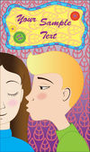 Blond boy kisses brunette girl postcard — Stock vektor