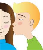Blond boy and brunette girl kissing — Stock Vector