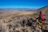 MT fiets over reno — Stockfoto