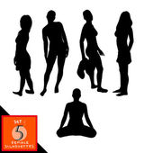 Set of 5 female silhouettes. — Stock vektor