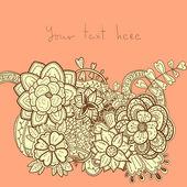 Stijlvolle bloemen borduurwerk ontwerp op roze achtergrond. — Stockvector