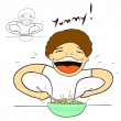 Man eating with great appetite — Imagen vectorial