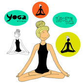 Yoga girl lotus pose — Stock Vector