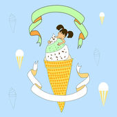 Ice cream eater — Stock Vector