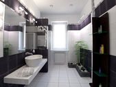 Black and white bathroom — Stock Photo
