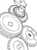 Sketch gears — Stock Photo
