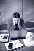 Man is stressed by financial troubles — Stock Photo