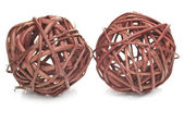 Two brown spheres made from wicker — Stock Photo