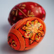 Easter eggs of росписаные in hand - Stock Photo