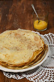 Pancakes with lemon curd — Stock Photo