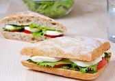 Tomaat mozzarella sandwich — Stockfoto