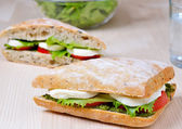 Tomato Mozzarella Sandwich — Stock Photo