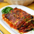 Baked Aubergine with mozzarella and tomatoes — Stock Photo #45207459