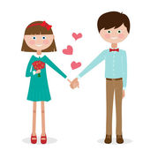Cute young couple in love — Stock Vector