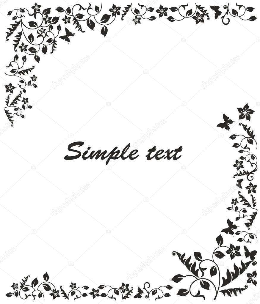 Flower Frame Black And White Simple Black And White Frame