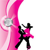 Silhouette of dancing couple — Stock Vector