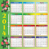 Calendar 2014 with roses — Stock Vector
