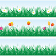 Background grass and flowers — Stock Vector