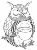 Owl and a large cup of coffee — Stock Vector