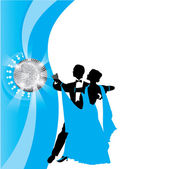 Blue background with dancing couple — Stock Vector