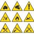 ストックベクタ: Yellow triangular signs