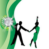 Vector green background with dancing couple — Stock Vector