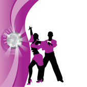 Vector purple background with dancing couple — Vector de stock